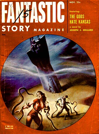 Fantastic Story Magazine 1950 Pulp Comic Books: Adventures In Science Fiction Cover Art: Crashed
